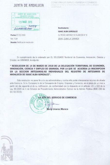carnet de artesano de la junta andalucia
